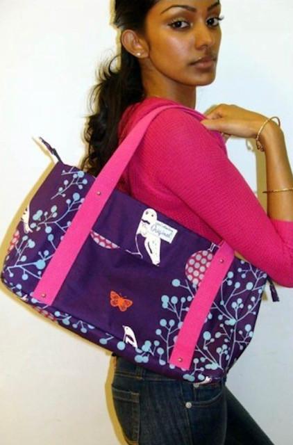Handmade Tote Bag - Purple and Pink Bird Print