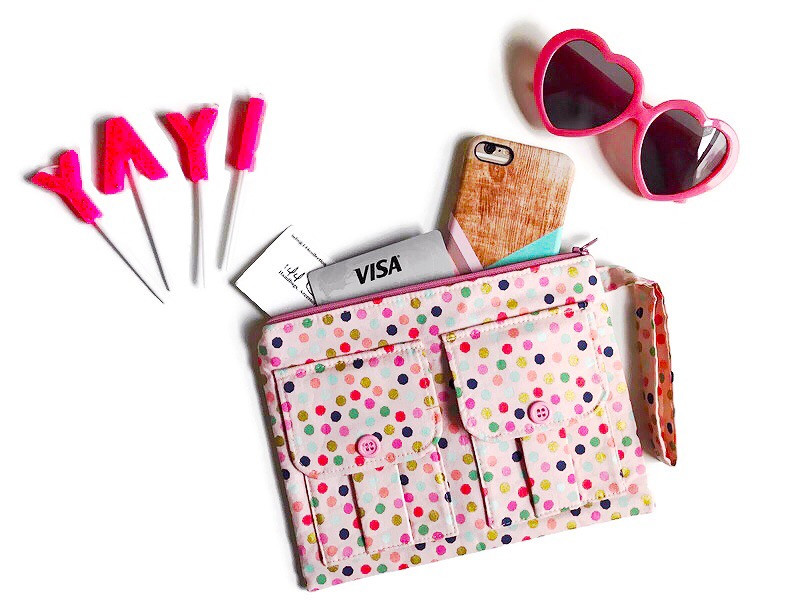 Wristlet Wallets - Polka Dot Print Pink Fabric