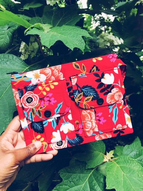Handmade Wristlet Red Floral Print
