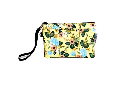 small wristlet purse -yellow floral print