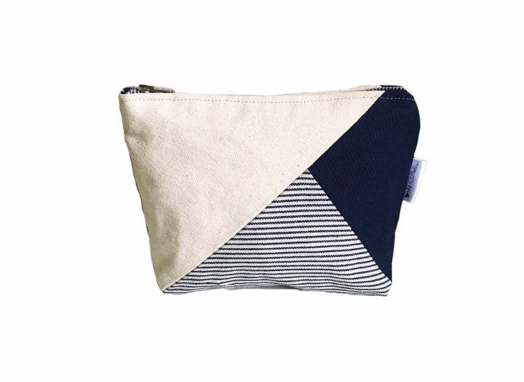 Color Block Bag - striped navy blue canvas