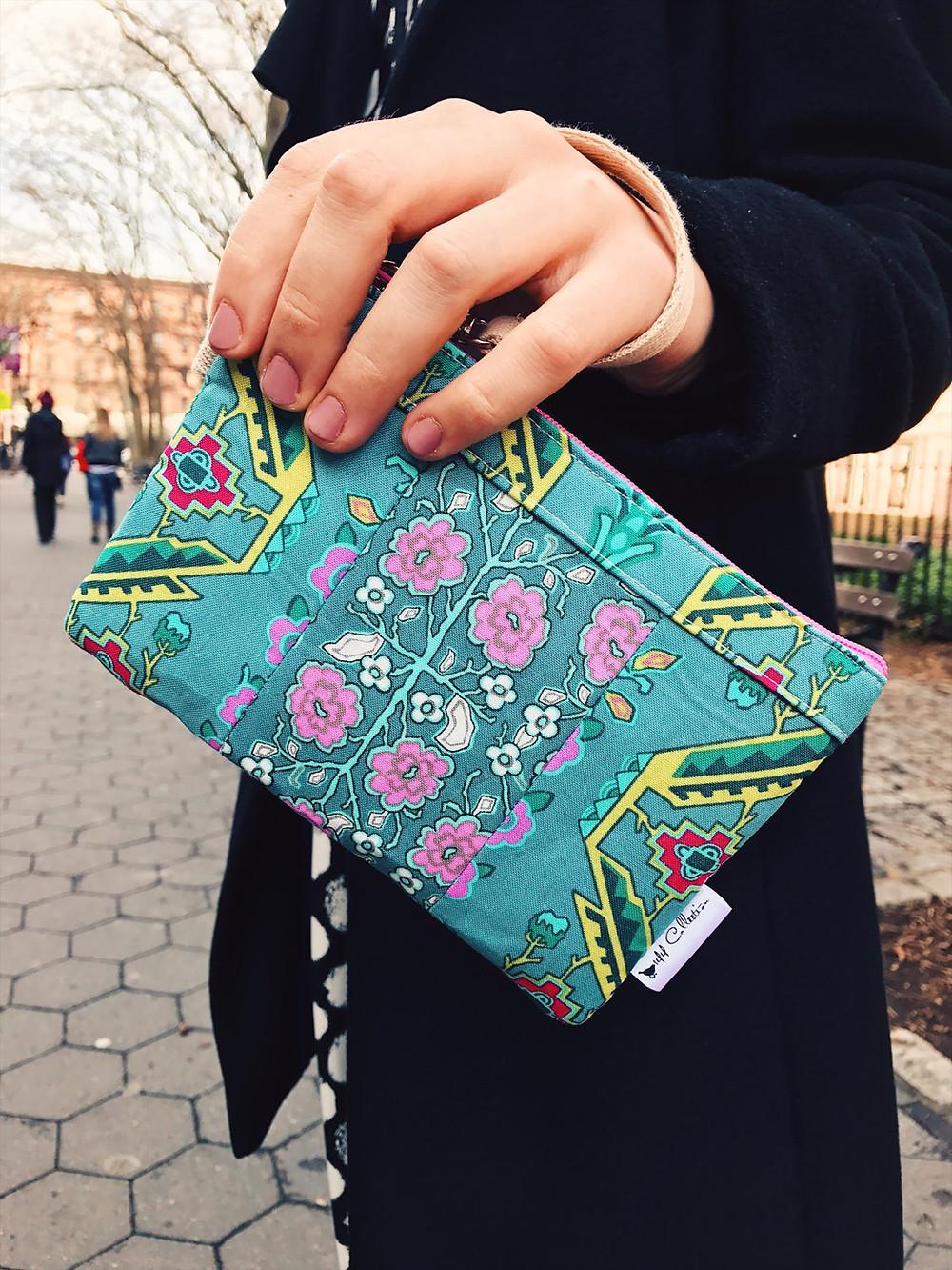 Handmade Wristlet - Turquoise pattern