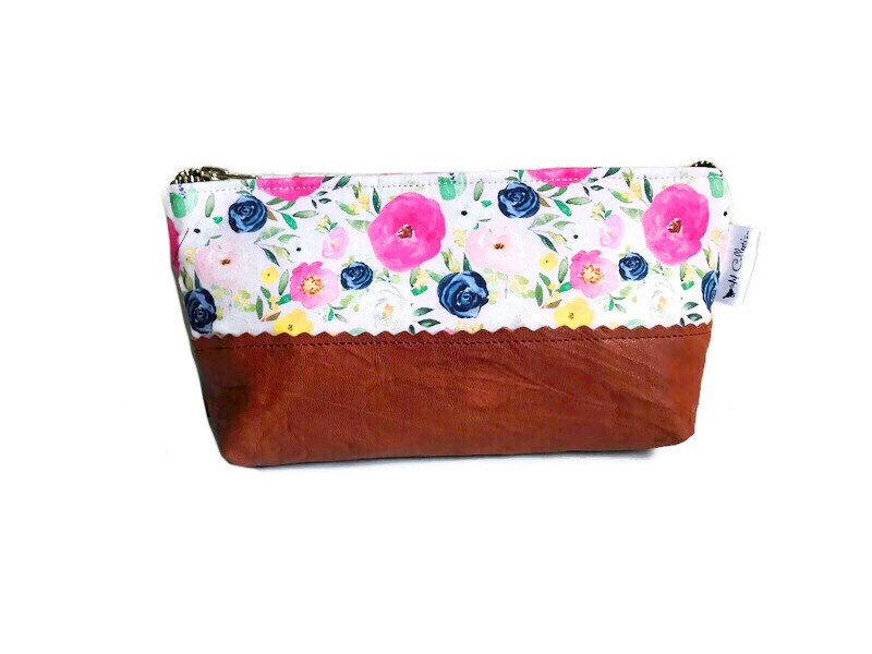 Floral Makeup Bag - Pink and Blue with Leather Accent