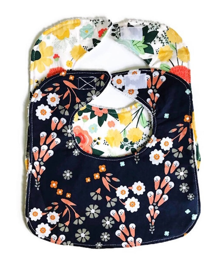 Best Baby Bibs for Drooling - White and Navy Blue Floral Print