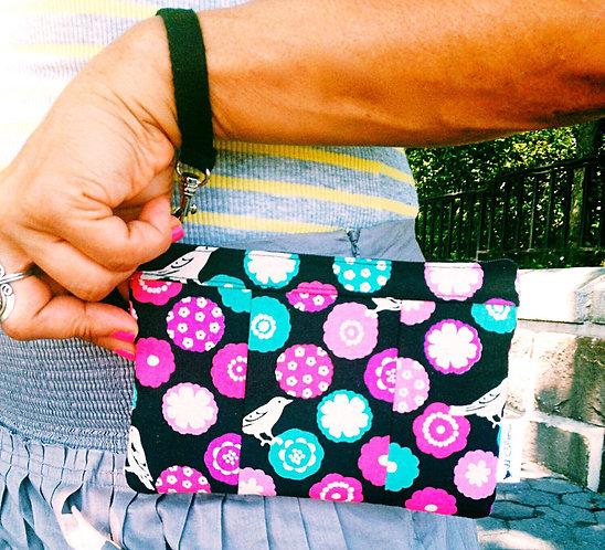 Handmade Wristlet Purse - Bird Print - Black Wallet - Small Wristlet