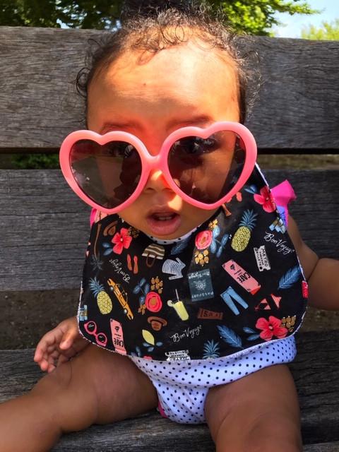 Baby Girl Bib - Black with Bon Voyage Print