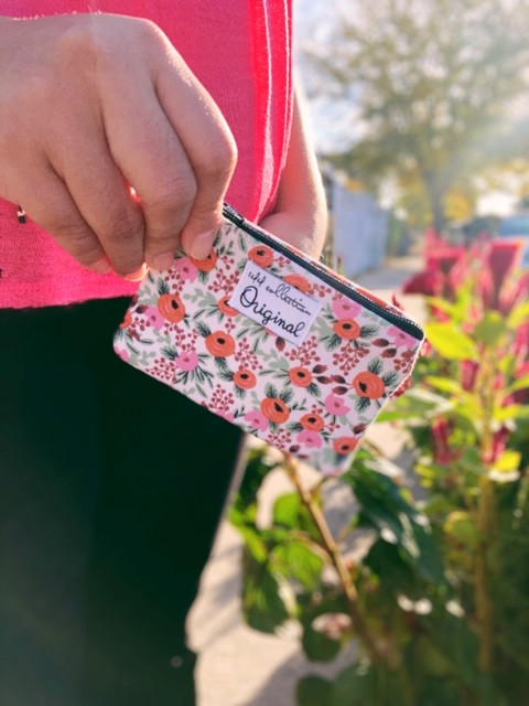 change purse - pink floral rifle paper co fabric