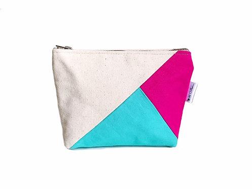 Color Block Pink and Aqua Canvas Makeup Bag