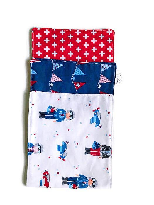 Baby Boy Burp Cloths - airplane print