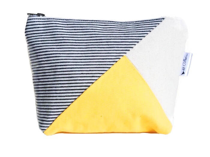 Canvas Makeup Bag - Striped Blue, Yellow and Natural Print