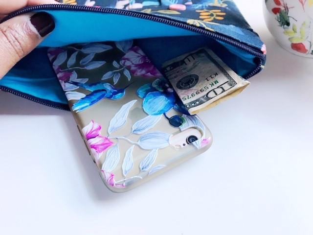 smartphone wristlet wallet - navy blue