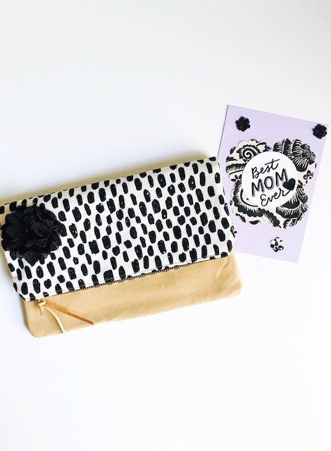Handmade Leather Clutch - Black and White Dashes Print