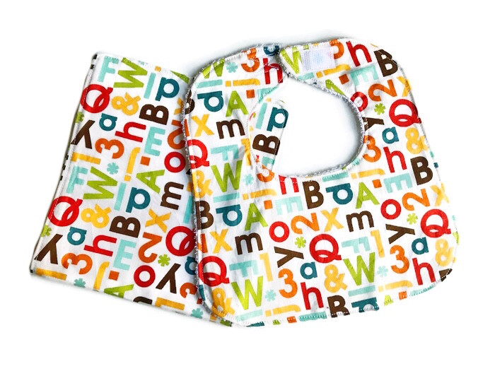 Alphabet Days Baby Bib and Burp Cloth Set Handmade
