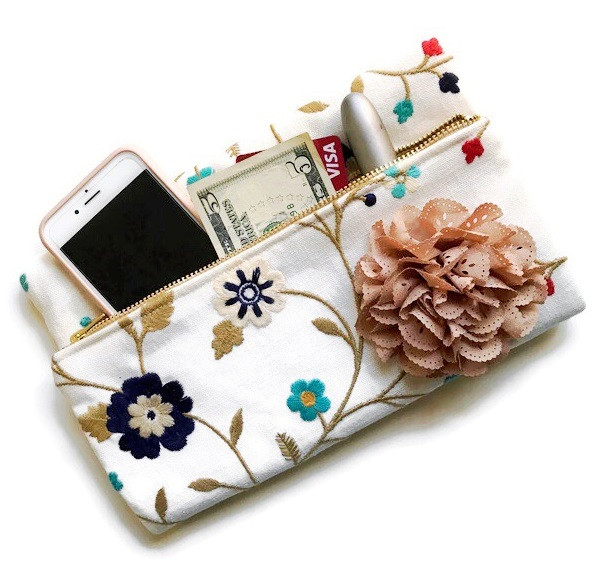 Foldover Clutch Bag - floral print fabric