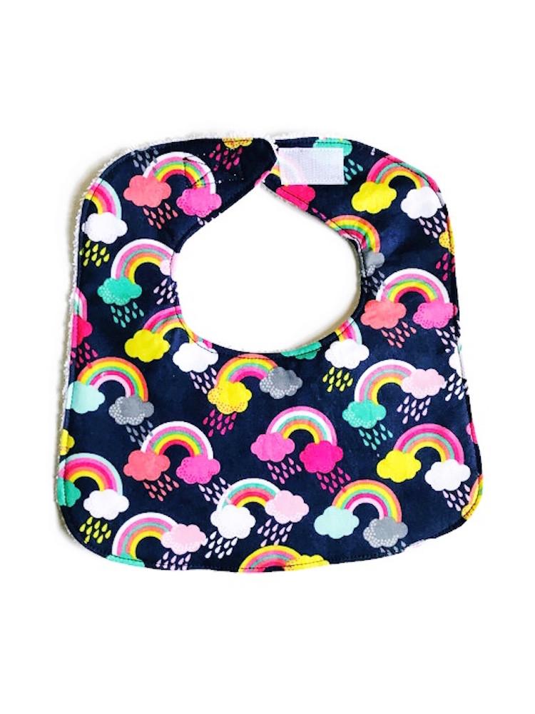 Baby Girl Bibs - Rainbow Print - Handmade Bibs