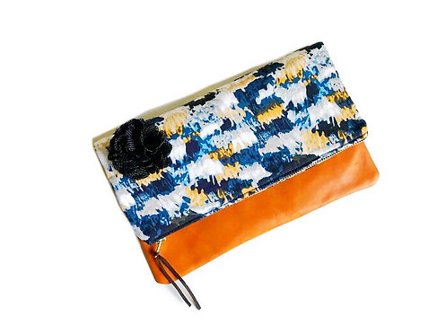 Handmade Clutch - Blue, Orange and White Print