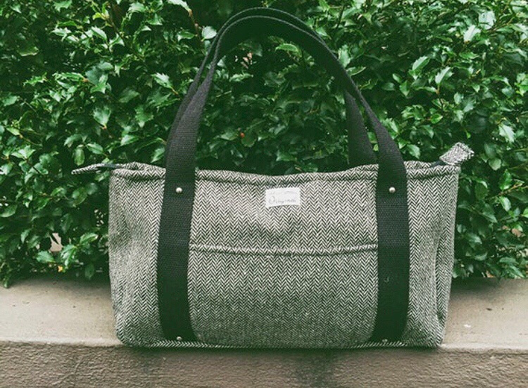Handmade Tote Bag - Black Wool Tweed
