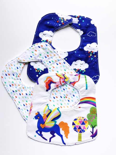 Baby Girl Bibs with Unicorns, Raindrops and Clouds Prints