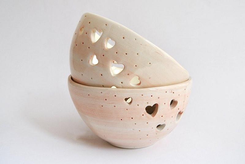 Ceramic Heart Print Bowls