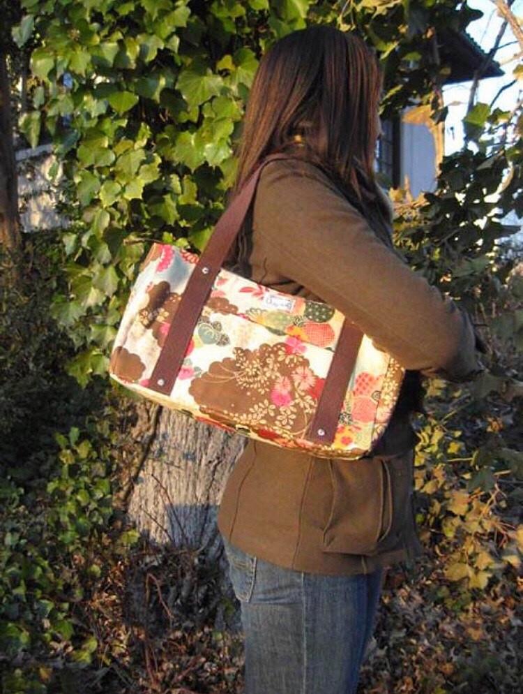 Handmade Handbag  Brown Floral Print