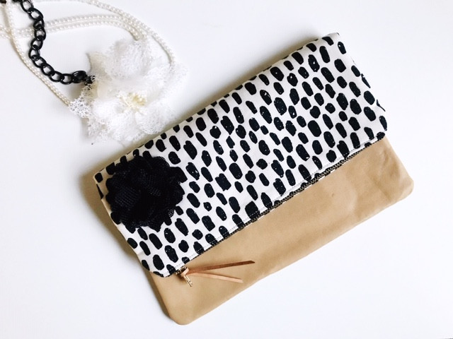 handmade clutch purse - white and black dashes print