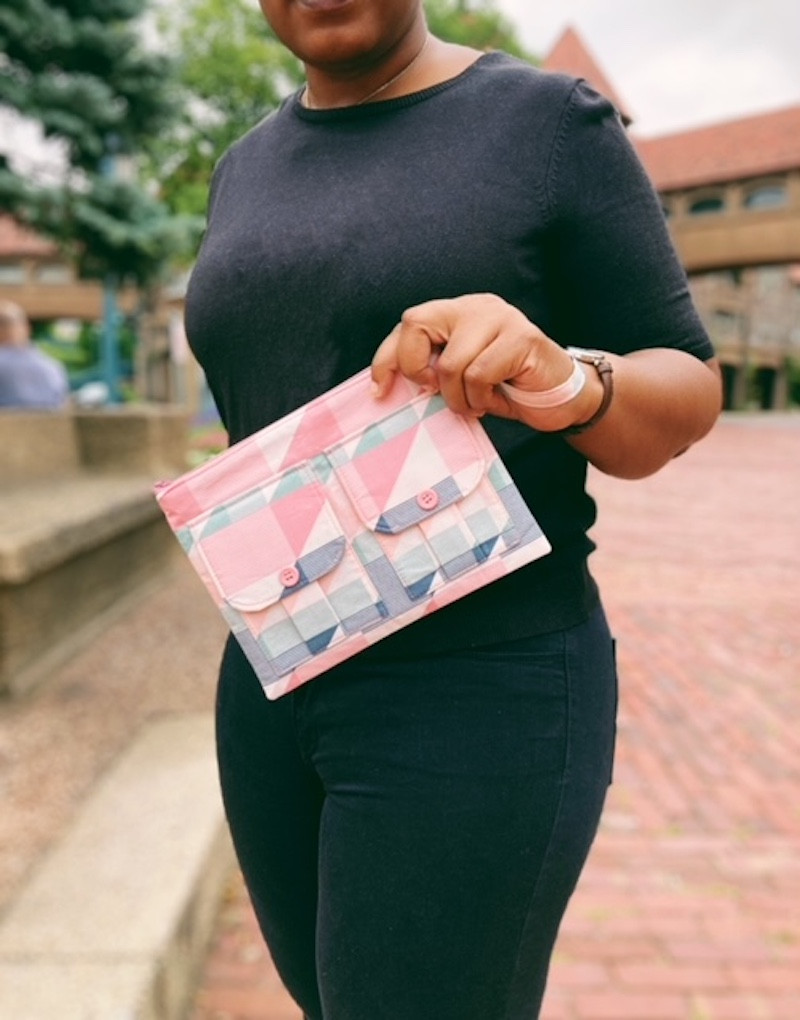 Wristlet Wallet - Bubblegum Pink Triangle Print