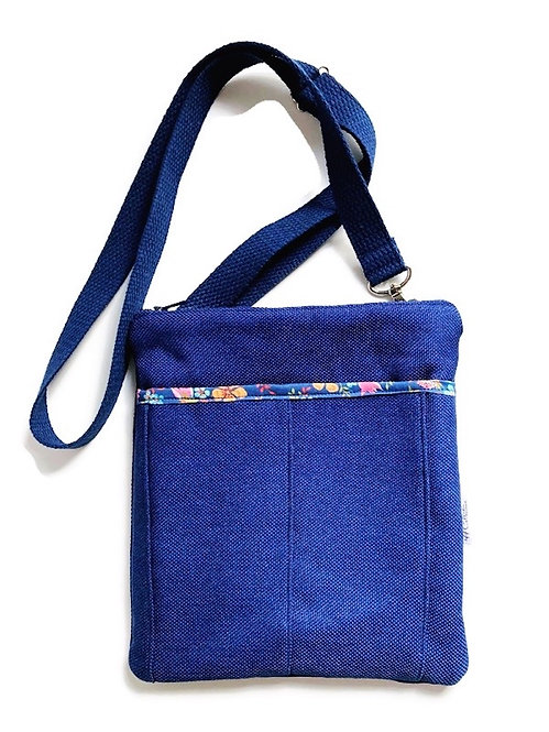 floral blue crossbody purse