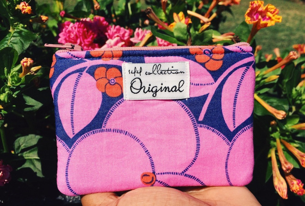 Handmade Coin Purse - Pink and Blue Floral Print