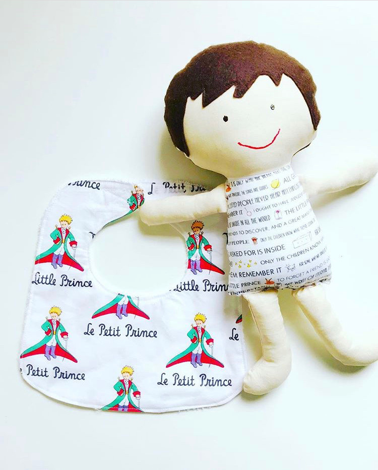 fabric doll and baby bib - the little price print