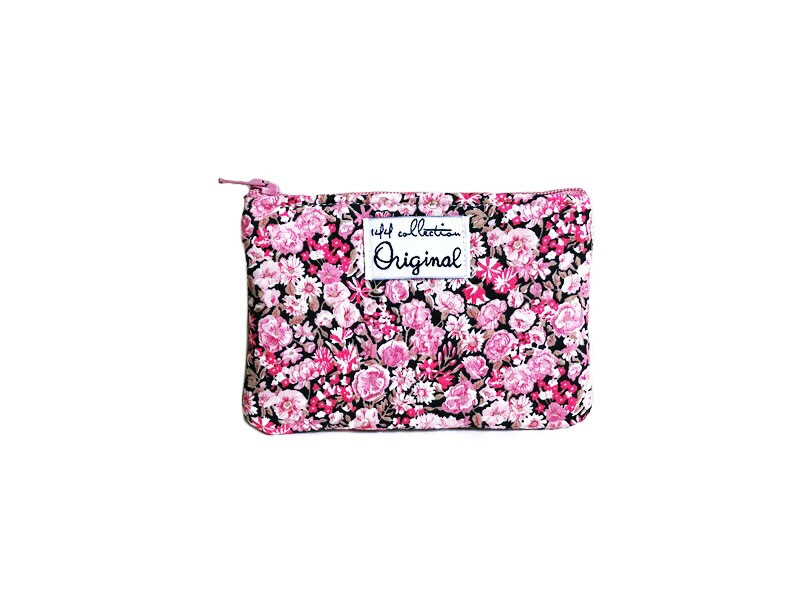 Coin Purse Brown and Pink  Floral Print