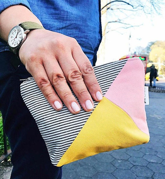Canvas Makeup Bag - Striped Blue Pink and Yellow