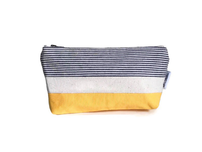 Canvas Zipper Pouch - Striped Blue and Yellow