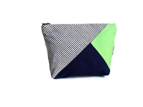 Canvas Makeup Bag Blue and Green