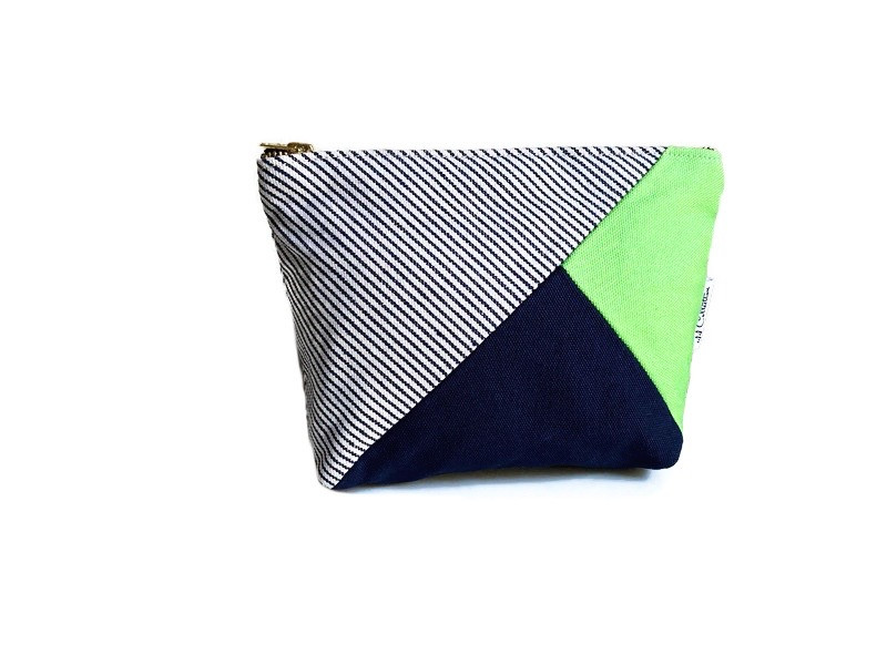 Handmade Makeup Bag - Blue and Green Canvas