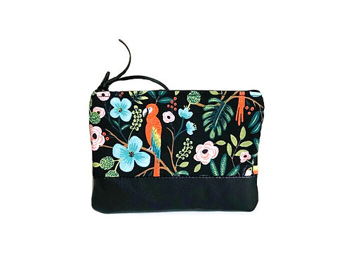 Handmade Leather Coin Purse - Black Tropical Print