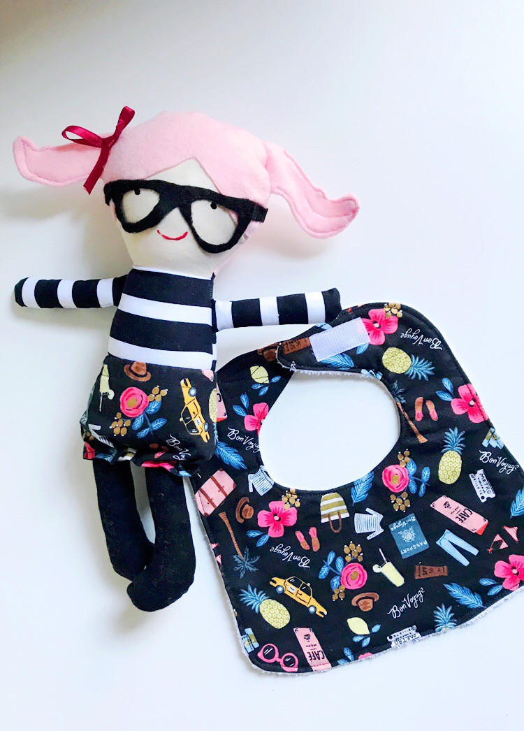 Baby Girl Bib with Fabric Doll