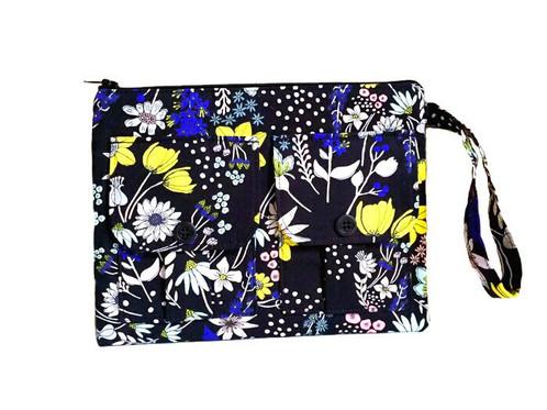 Handmade Handbags Flowers Black Wristlet Purse Pouch Bag