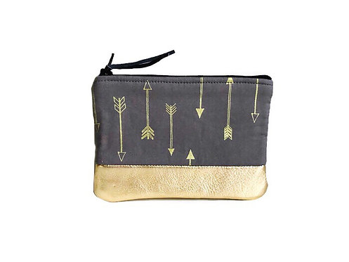 Handmade Leather Coin Purse - Gray Metallic Gold Arrows Print