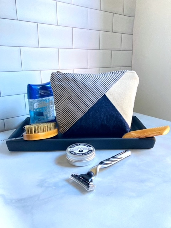 mens grooming bag -blue denim