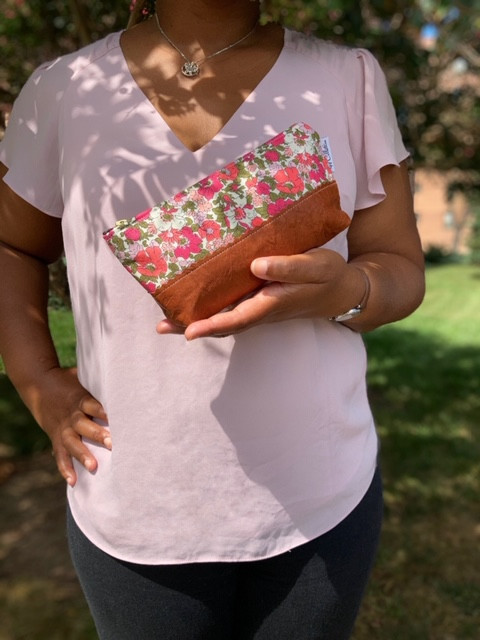 Leather Cosmetic Bag - Pink and Green Floral Print