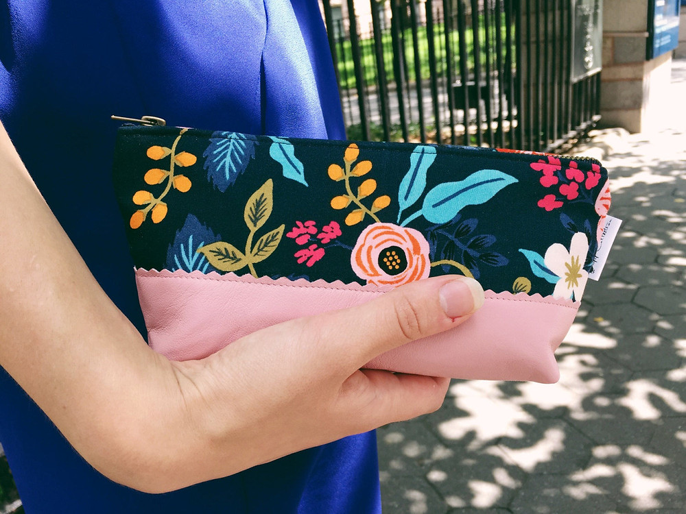 Leather Makeup Bag - Blue Floral Print