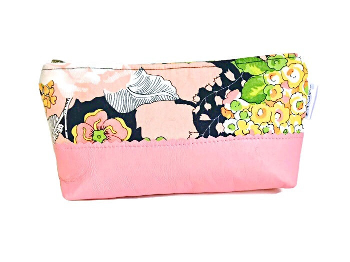 Floral Makeup Bag - Pink and Black with Leather Accent