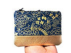 Floral Navy Metallic Gold  Leather Pouch