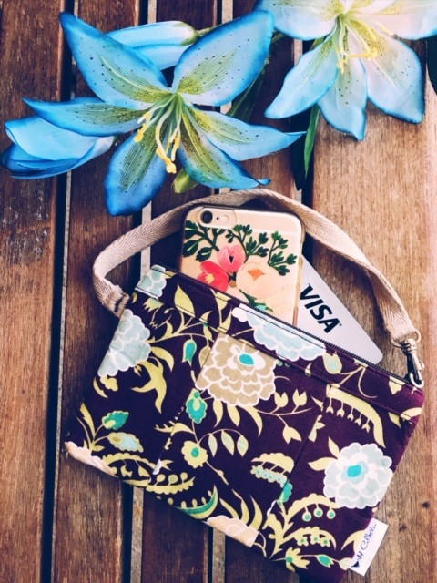 American Made Wallets - Brown Floral Wristlet Wallet
