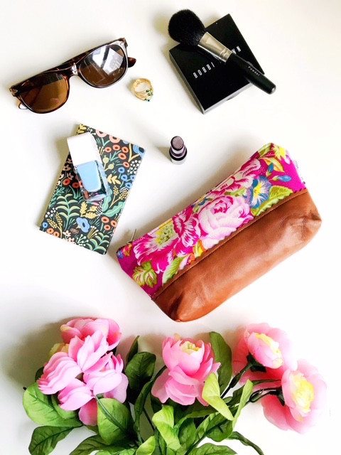 Leather Makeup Bag  - Pink Floral Print
