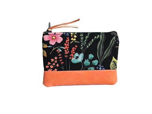 wildflower garden leather coin purse