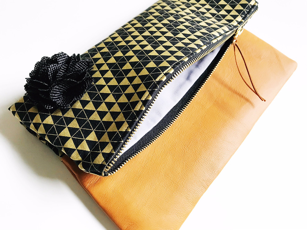 Handmade Evening Bag - Inside View of Black and Gold Print Leather Clutch