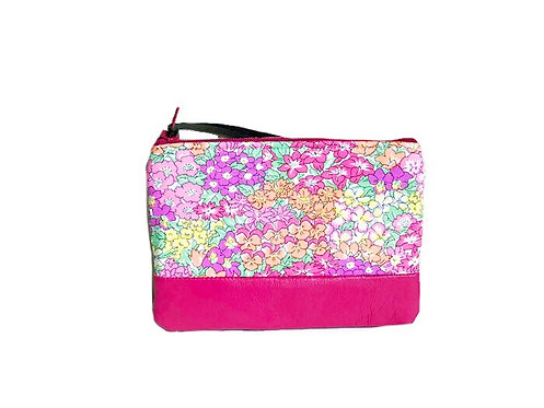 Pink Floral Leather Coin Purse