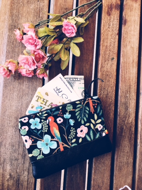 Leather Coin Purse - Black Tropical Birds Print