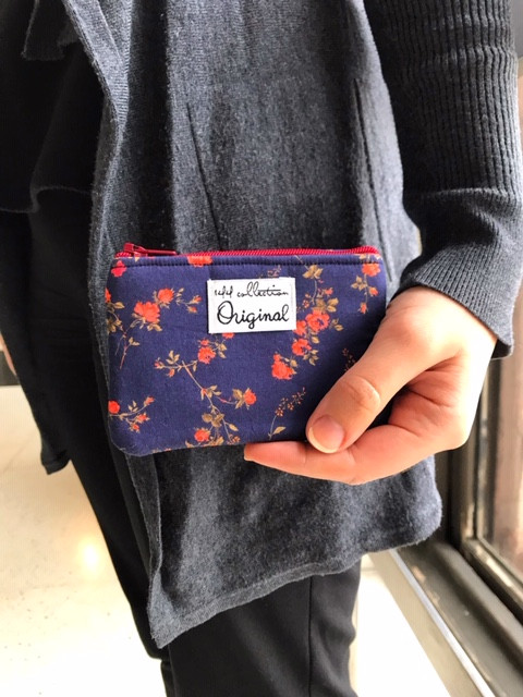 Coin Purse Wallet - Red and Blue Floral Print